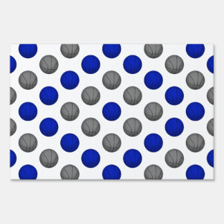 Blue and Gray Basketball Pattern Yard Sign