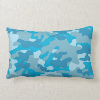 Blue and Gray Camo Design Lumbar Pillow