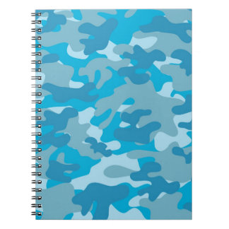 Blue and Gray Camo Design Spiral Notebook