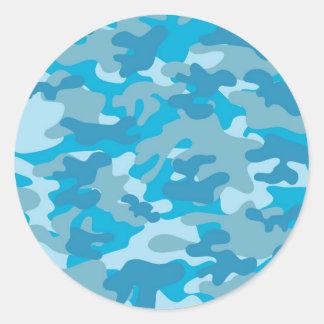 Blue and Gray Camo Design Round Sticker