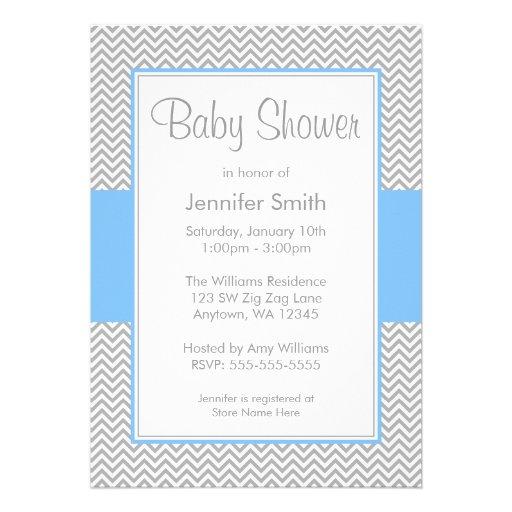 blue and gray chevron baby shower invitations 5 x 7 invitation ca