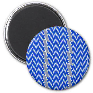 Blue and gray chevron design 2 inch round magnet