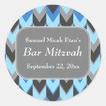 Blue and Gray Chevron Pattern Bar Mitzvah Classic Round Sticker