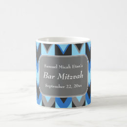 Blue and Gray Chevron Pattern Bar Mitzvah Coffee Mug