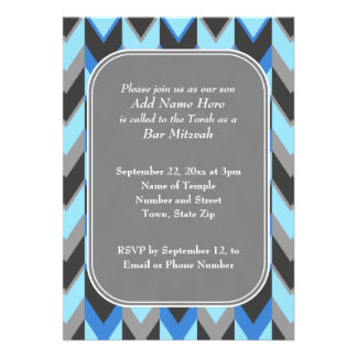 Blue and Gray Chevron Pattern Bar Mitzvah Invites