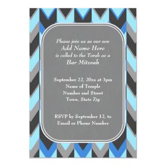Blue and Gray Chevron Pattern Bar Mitzvah 5x7 Paper Invitation Card