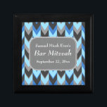 """Blue and Gray Chevron Pattern Bar Mitzvah Keepsake Box<br><div class=""""desc"""">This Bar Mitzvah chevron pattern is in blue and gray. There is white text to personalize,  in a stylish font.</div>"""
