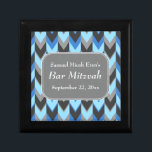 "Blue and Gray Chevron Pattern Bar Mitzvah Keepsake Box<br><div class=""desc"">This Bar Mitzvah chevron pattern is in blue and gray. There is white text to personalize,  in a stylish font.</div>"