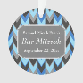 Blue and Gray Chevron Pattern Bar Mitzvah Ornament