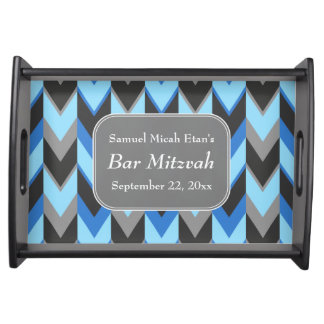 Blue and Gray Chevron Pattern Bar Mitzvah Serving Tray