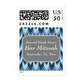 Blue and Gray Chevron Pattern Bar Mitzvah Postage