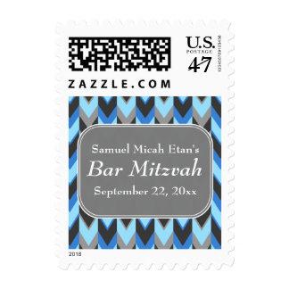 Blue and Gray Chevron Pattern Bar Mitzvah Postage Stamp