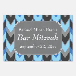 Blue and Gray Chevron Pattern Bar Mitzvah Yard Signs