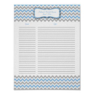 Blue and Gray Chevron Shower Gift List Poster