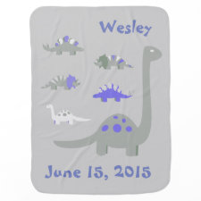 Blue and Gray Dinosaur Baby Blanket
