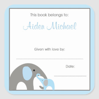 Blue and Gray Elephant Baby Shower Book Plate