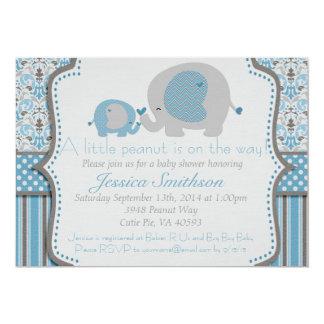 Blue and Gray Elephant Baby Shower Invitation