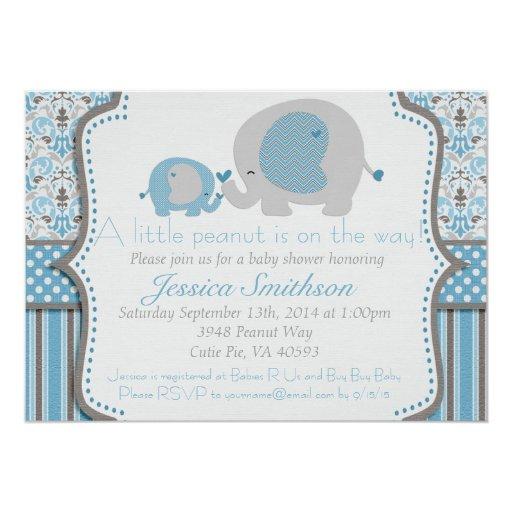 blue and gray elephant baby shower invitation zazzle
