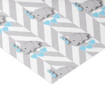 Blue and Gray Elephant Baby Shower Tissue Paper