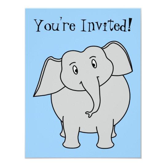 Blue and Gray Elephant Birthday Card