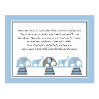 Blue and Gray Elephant Insert for Book Baby Shower Postcard