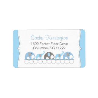 Blue and Gray Elephants Baby Boy Shower Label