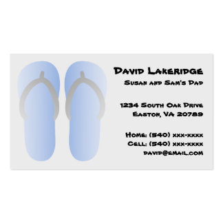 Blue and Gray Flip Flops Daddy Contact Info Card Business Card