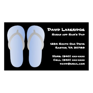 Blue and Gray Flip Flops Daddy Contact Info Card Business Card Templates