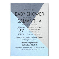 Blue and Gray Geo Triangles Baby Shower Invites