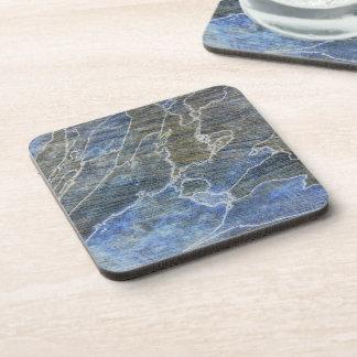 Blue and Gray Grunge Beverage Coaster