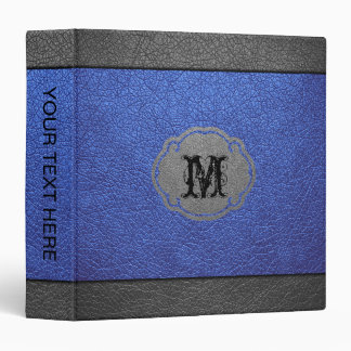 Blue and Gray Leather Binder