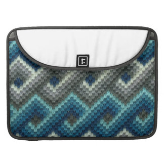 Blue and Gray Links Needlepoint MacBook Pro Sleeve