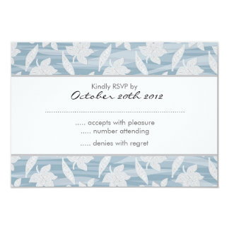 """blue and gray lovely leaves pattern RSVP 3.5"""" X 5"""" Invitation Card"""