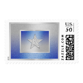 Blue and Gray Ombre Shimmer Silver Star Postage