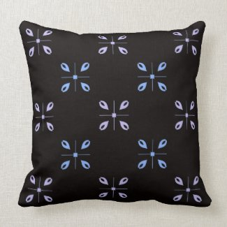 Blue and Gray on Black Reversible Tiled Pattern Throw Pillow
