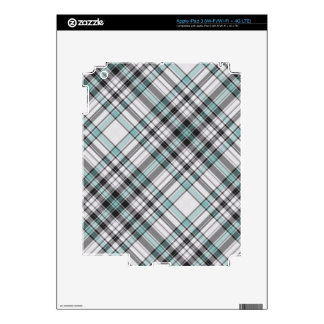 Blue and Gray Plaid Skin For iPad 3