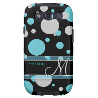 Blue and Gray Polka Dots with Monogram Samsung Galaxy SIII Cases