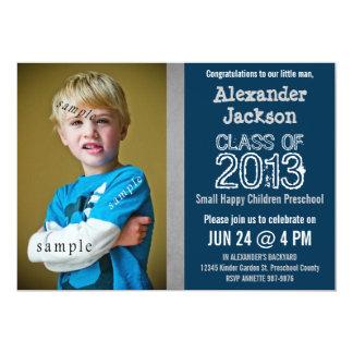 Blue and Gray Preschool or Kindergarten graduation Invite