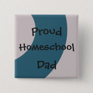 Blue and Gray Proud Homeschool Dad Pinback Button