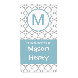 Blue and Gray Quatrefoil Initial bookplate Shipping Label