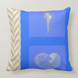 Blue and Gray Shell Chevron Pillow