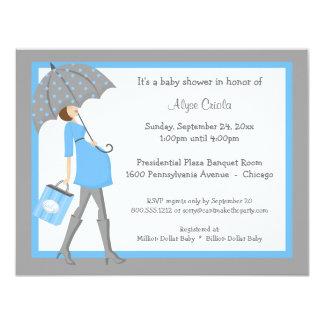 "Blue And Gray Shopper Baby Shower Invitation 4.25"" X 5.5"" Invitation Card"