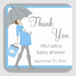 Blue And Gray Shopper Baby Shower Stickers