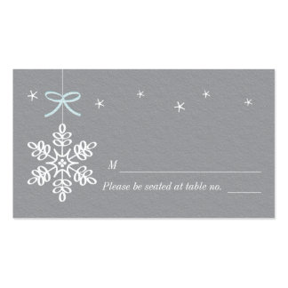 Blue and Gray Snowflake Place Cards Double-Sided Standard Business Cards (Pack Of 100)