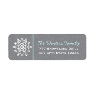 Blue and Gray Snowflake Return Address Labels
