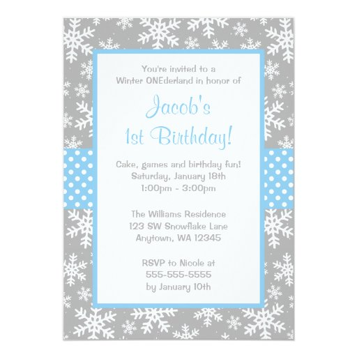 Blue and Gray Snowflakes Winter Onederland 5x7 Paper Invitation Card