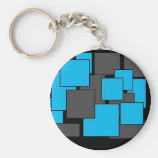 Blue and Gray squares art design Basic Round Button Keychain