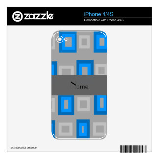 Blue and gray squares personalized name skin for the iPhone 4