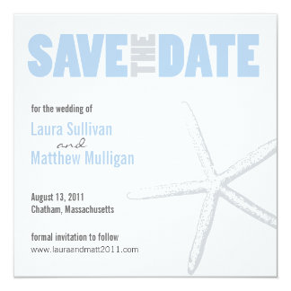 Blue and Gray Starfish Wedding Save the Date Card