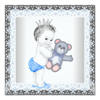 Blue and Gray Vintage Baby Boy Shower Card